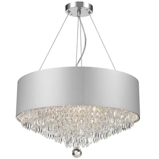 Contemporary Modern 8-light Chrome Finish and Crystal Ball Prism Medium Chandelier with White Acrylic Drum Shade