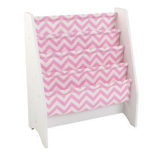 KidKraft Pink and White Chevron Polyester Sling Wooden Bookshelf