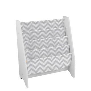 Kid Kraft Grey Pattern White Canvas Sling Bookshelf
