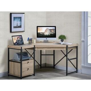 Denver Salvaged Oak Manufactured Wood and Metal Corner Desk With Pedestal