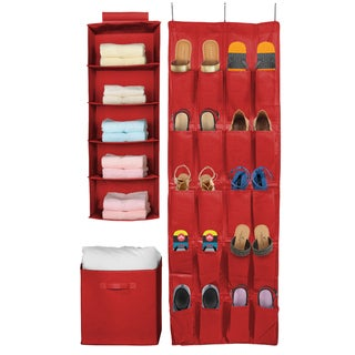 Sorbus Red Canvas Foldable Basket, Hanging Shelves, Hanging Shoe Organizer (Set of 3)