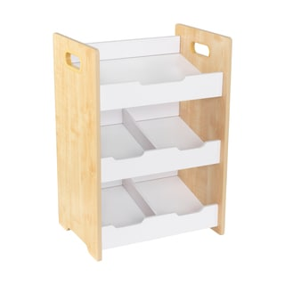 Kid Kraft Natural and White Polyester Solid Microfiber 3-shelf Angled Bin Unit