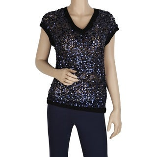 Elie Tahari Frederica Navy Cotton Sequin V-neck Sweater Vest