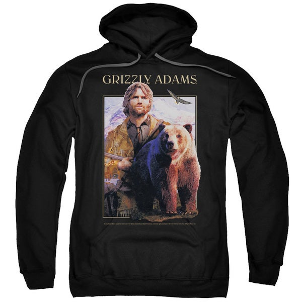 Grizzly Adams/Collage Adult Pull-Over Hoodie in Black