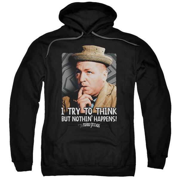Three Stooges/Try To Think Adult Pull-Over Hoodie in Black