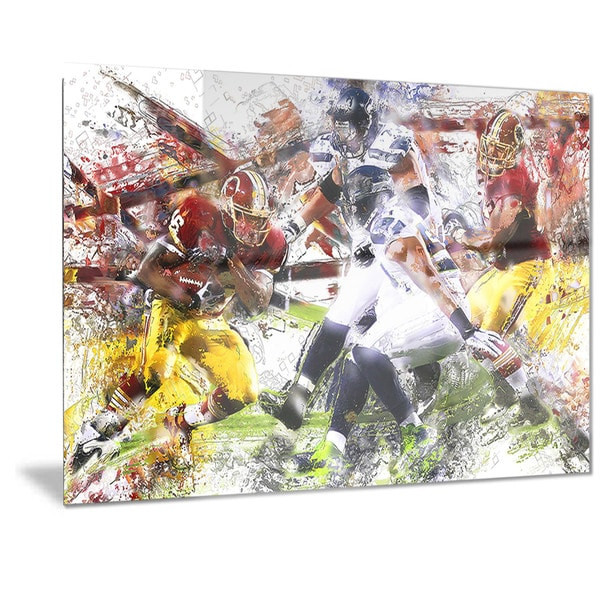 Designart 'Football Possession Metal Wall Art