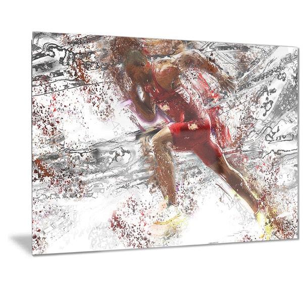 Designart 'Track Team Sprinting Metal Wall Art