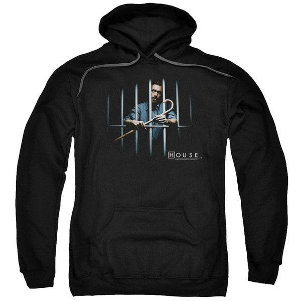 House/Behind Bars Adult Pull-Over Hoodie in Black