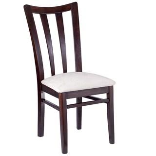 Peony Retro Dark Walnut Black Seat Dining Chairs Set