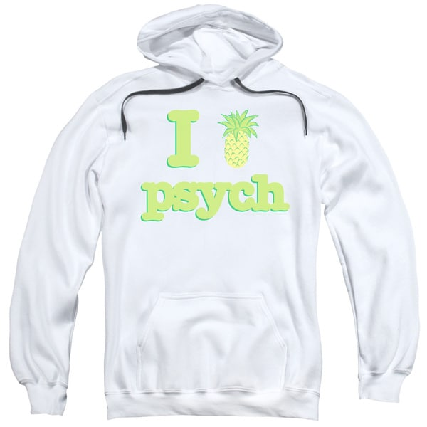 Psych/I Like Psych Adult Pull-Over Hoodie in White