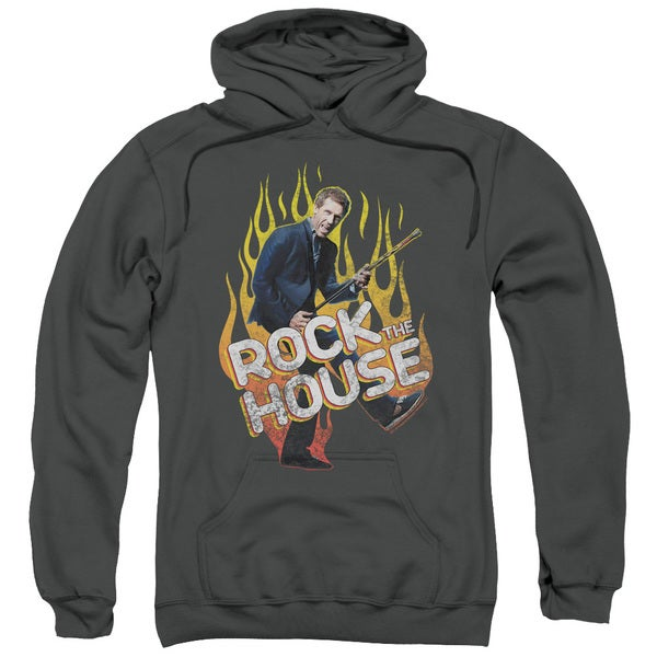 House/Rock The House Adult Pull-Over Hoodie in Charcoal