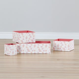 South Shore Storit White/Pink Cardboard Set of 3 Basket Organizers With Pencil Cup