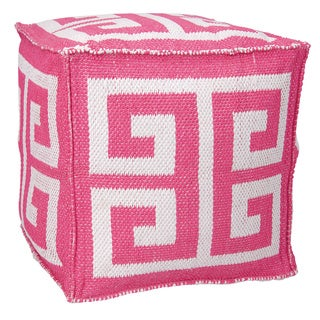 Mina Victory Indoor/Outdoor Greek Key Hot Pink Cube (16-inch x 16-inch) by Nourison