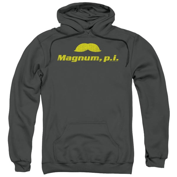 Magnum Pi/The Stache Adult Pull-Over Hoodie in Charcoal