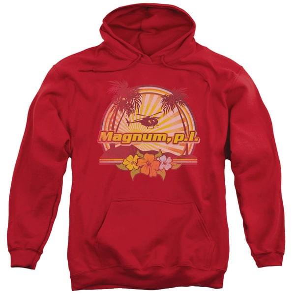 Magnum Pi/Hawaiian Sunset Adult Pull-Over Hoodie in Red
