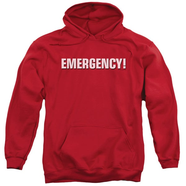 Emergency/Logo Adult Pull-Over Hoodie in Red