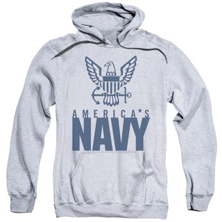 Navy/Eagle Logo Adult Pull-Over Hoodie in Athletic Heather