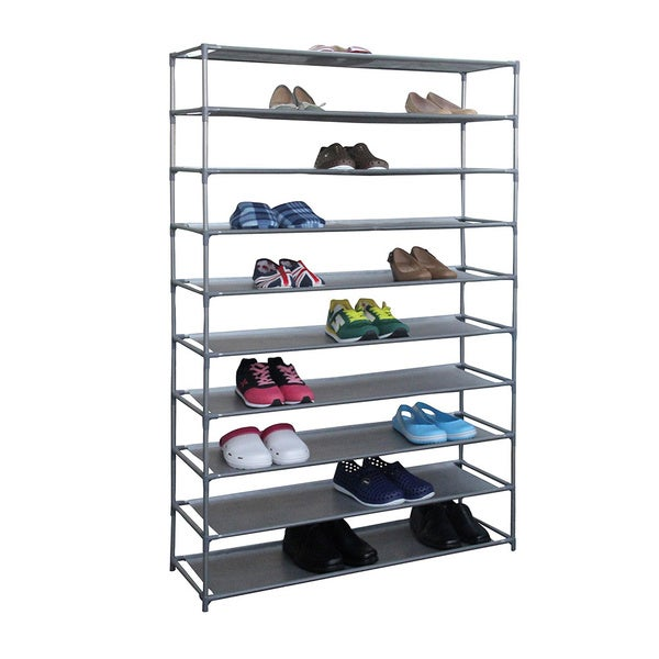 Home Basics Grey Fabric Non-woven Extra-wide 50-pair Shoe Rack Storage Shelving 18723811