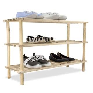 Home Basics Natural Wood 3-tier Shoe Rack