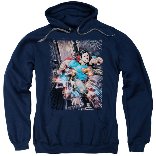 Superman/Action Comics #1 Adult Pull-Over Hoodie in Navy