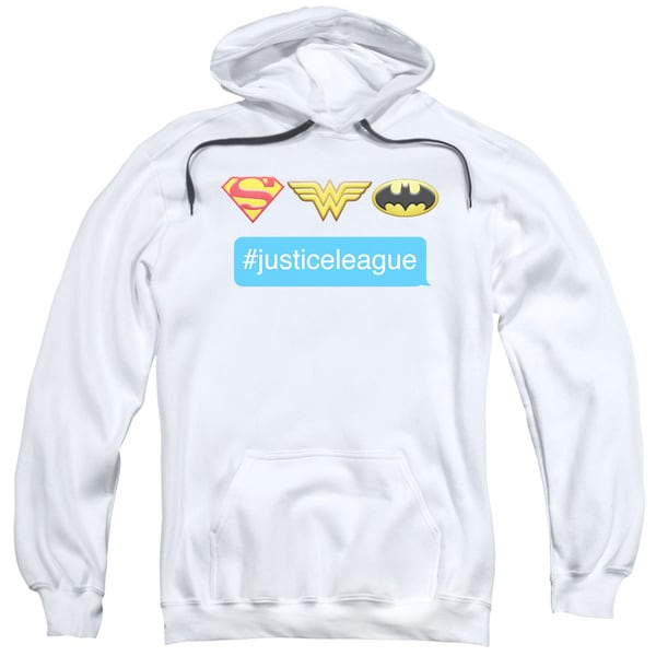 DC/Hashtag JLA Adult Pull-Over Hoodie in White