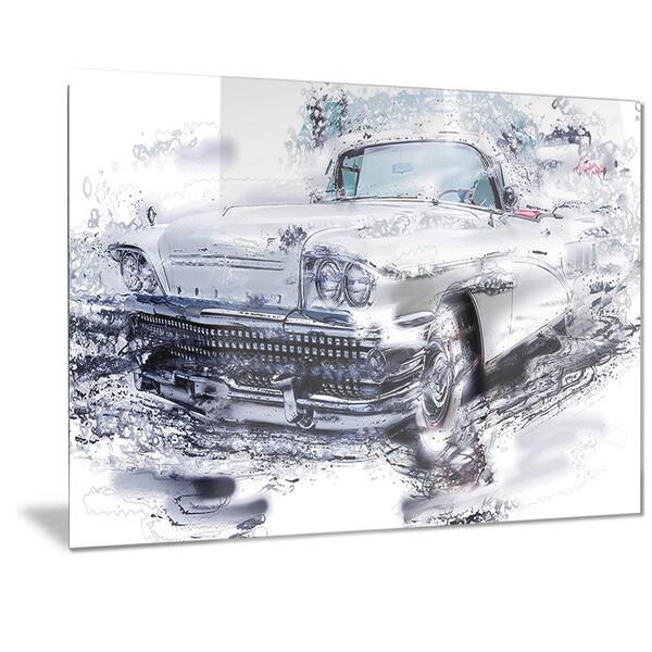 Designart Grey Muscle Car Metal Wall Art
