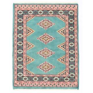 Herat Oriental Pakistani Hand-knotted Bokhara Light Blue/ Salmon Wool Rug (2'1 x 2'9)