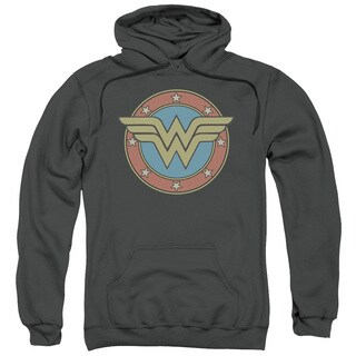 DC/Ww Vintage Emblem Adult Pull-Over Hoodie in Charcoal