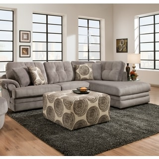 Sofa Trendz Plush Grey/Brown Velvet/Fabric Sectional and Accent Ottoman (Set of 2)