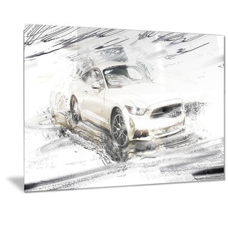 Designart Super Charged White Muscle Car Metal Wall Art