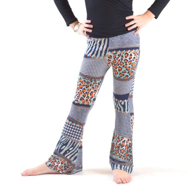 Girl's BST-151K Multi-color Polyester and Spandex Wrinkle-resistant Flat-front Bell-bottom Leggings