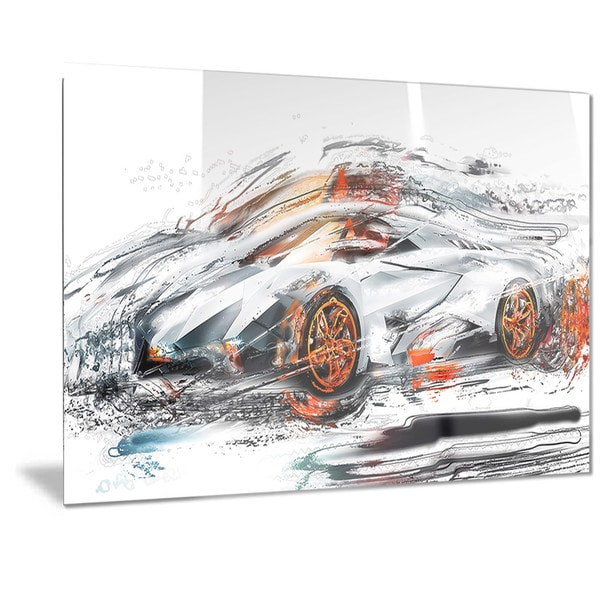 Designart Modern Super Car Metal Wall Art