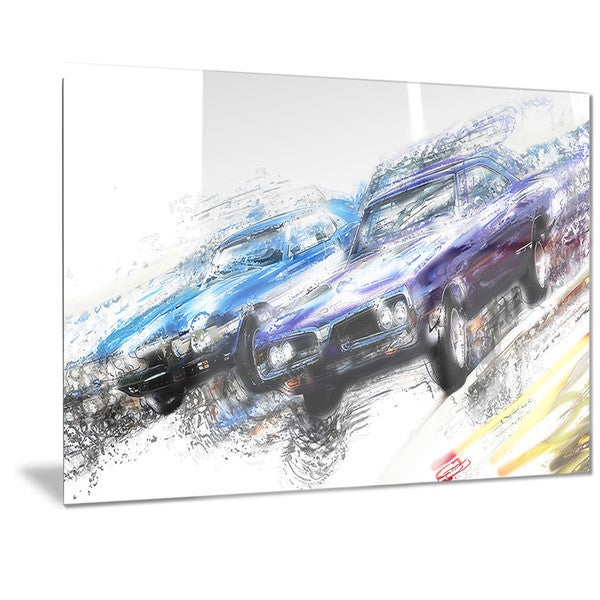 Designart Finish Line Muscle Car Race Metal Wall Art