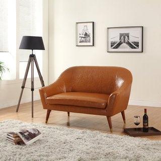 Signature Collection Mid Century Modern Bonded Leather Living Room Loveseat