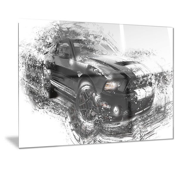 Designart Black and White Muscle Car Metal Wall Art