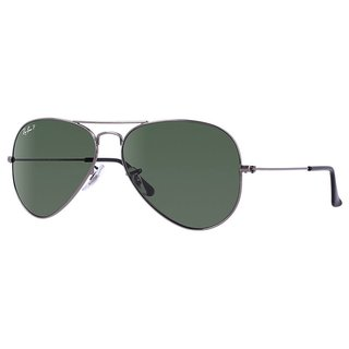 Ray Ban RB3025 RB3025 004/58 Aviator Classic Gunmetal Frame Polarized Green Classic 58mm Lens Sunglasses