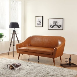 Madison Home Signature Collection Mid Century Modern Bonded Leather Living Room Sofa