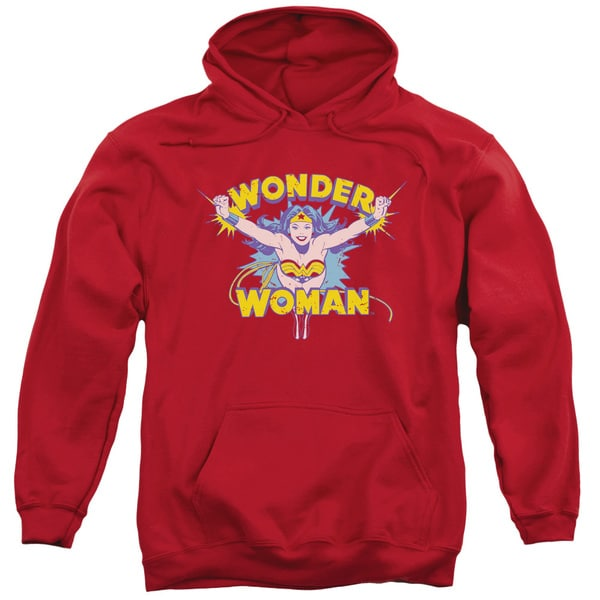 DC/Flying Through Adult Pull-Over Hoodie in Red