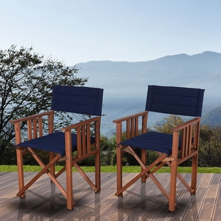 Amazonia Orlando Blue Eucalyptus Wood Patio Dining Chairs (Set of 2)