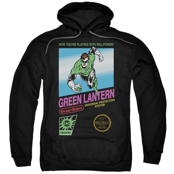 Green Lantern/Box Art Adult Pull-Over Hoodie in Black