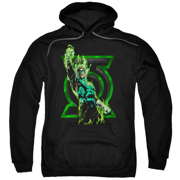 Green Lantern/Fully Charged Adult Pull-Over Hoodie in Black