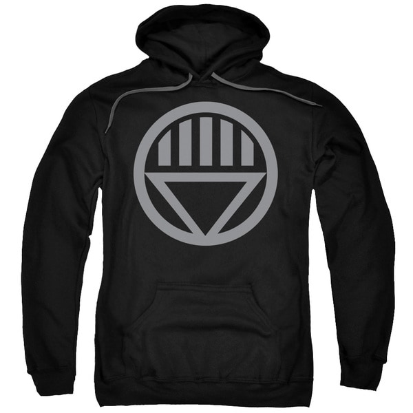 Green Lantern/Grey Emblem Adult Pull-Over Hoodie in Black