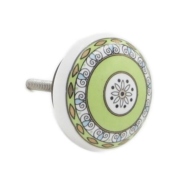 Green Pattern 6-pack Brass Knobs