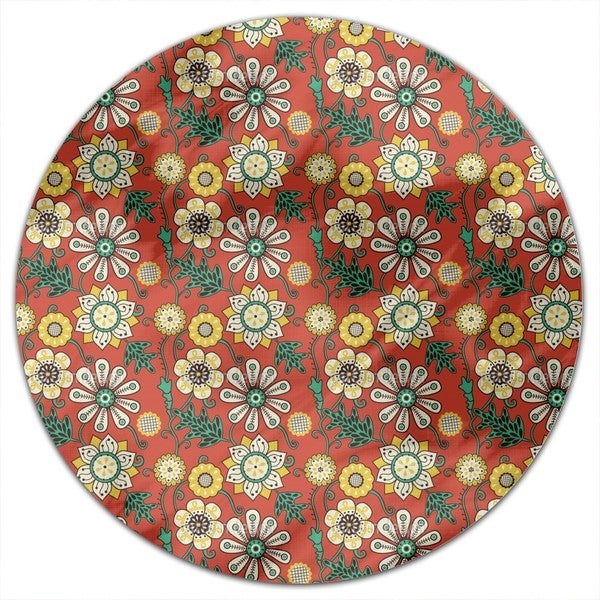 Flower People Of The Seventies Round Tablecloth