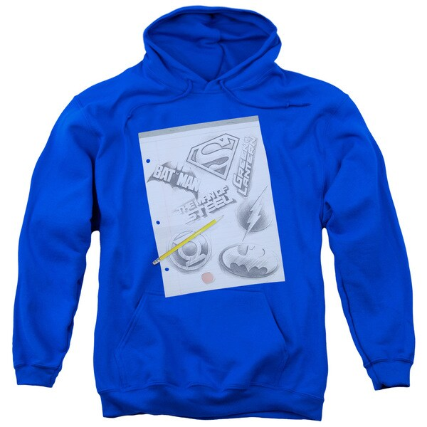 DC/Logo Note Paper Adult Pull-Over Hoodie in Royal Blue