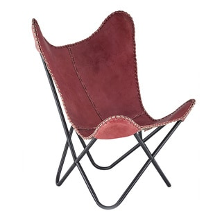 Horizon Rose Leather Butterfly Chair
