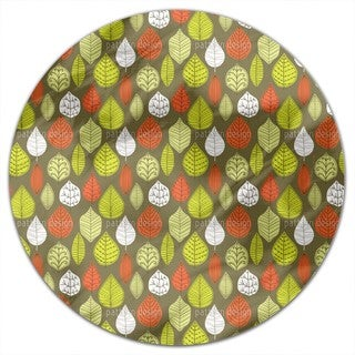 Leaves In Style Round Tablecloth