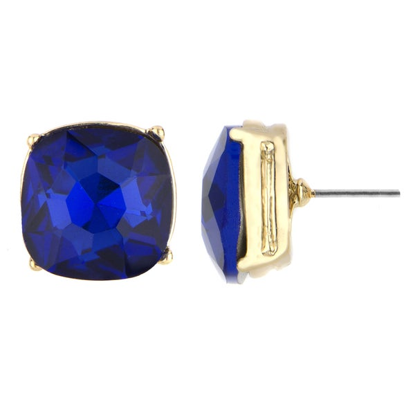 Blue Cushion Stud Earrings
