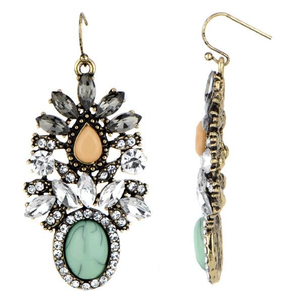 Fancy Orange and Mint Drop Earrings