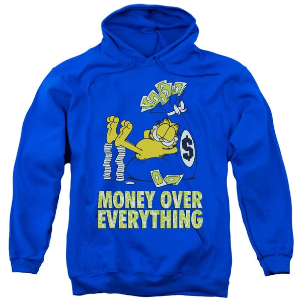 Garfield/Money Is Everything Adult Pull-Over Hoodie in Royal Blue